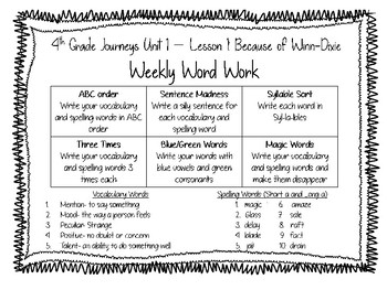 Journeys Write-in Reader Vocabulary and Spelling Activities