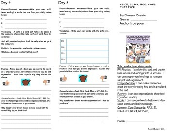 Journeys lesson 11 Click, Clack, Moo trifold