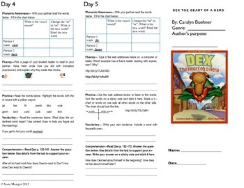Journeys lesson 20 Dex the Heart of a Hero trifold