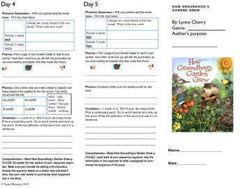 Journeys lesson 25 How Groundhogs Garden Grew trifold