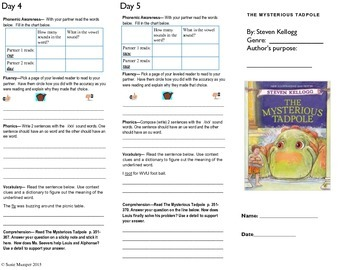 Journeys lesson 26 The Mysterious Tadpole Trifold