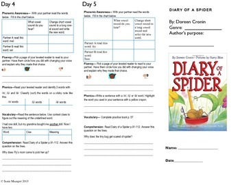 Journeys lesson 4 Diary of a Spider Trifold
