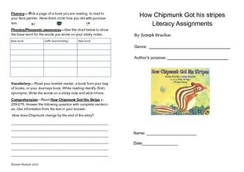 Journeys lesson 9 - How Chipmunk Got His Stripes Bifold