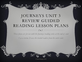 Journeys unit 3 review week guided reading lesson plans