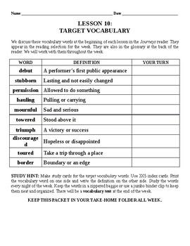 Journeys Vocabulary Lesson 10