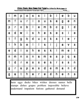 Journey's - Lesson 11 - Click Clack - Wordsearch - second grade
