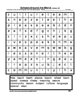 Journey's - Lesson 13 - Schools Around the World - Wordsearch