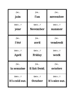 Jours, Mois, Saisons, Temps (Days, Months, Seasons, Weather)  J'ai Qui a