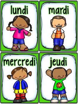 Jours de la semaine et mois de l'année - cartes de vocabulaire