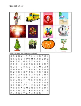Jours et Mois (Days and Months in French) worksheet 2
