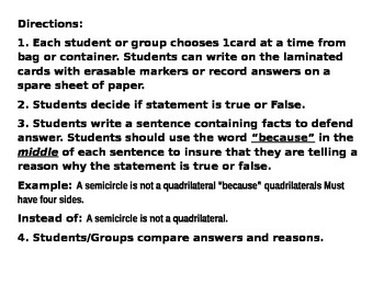 Jousting Quadrilaterals Task Cards CCSS 5.G.3