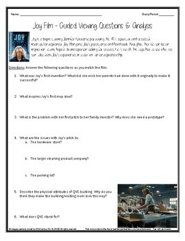 Joy Movie Questions & Film Analysis - Guided Viewing