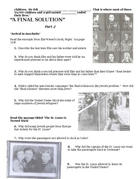 "Joy Hakim's ""War, Peace and All that Jazz""  'A Final Solution' Chapter Worksheet"