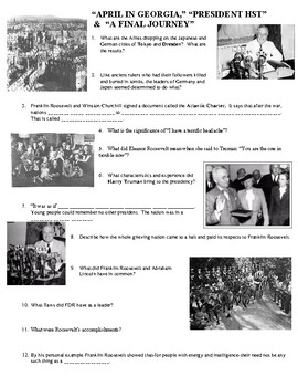 "Joy Hakim's ""War, Peace and All that Jazz""  Chapters 39-41 Worksheet"