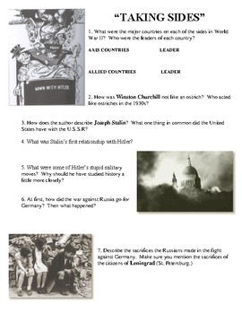 "Joy Hakim's ""War, Peace and All that Jazz""  'Taking Sides' Worksheet"