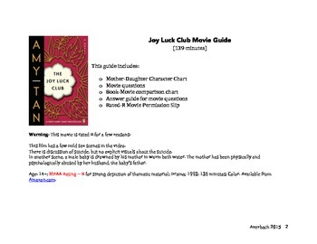 Joy Luck Club Movie Guide (No Prep)