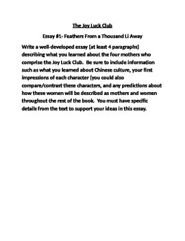 Joy Luck Club Writing Response