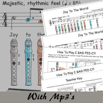 Joy To The World C - Christmas Sheet Music For Recorder