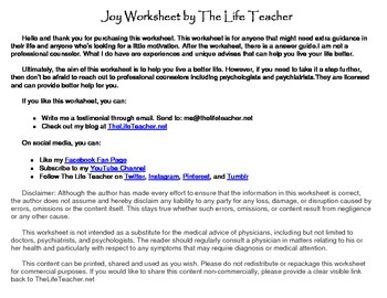 Joy Worksheet