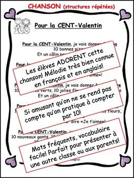 Joyeux CENT-Valentin (Petit livre et chanson pour 100e jour et la St-Valentin!)