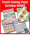 Joyeux Noël Merry Christmas Holiday Adult Coloring Page BUNDLE