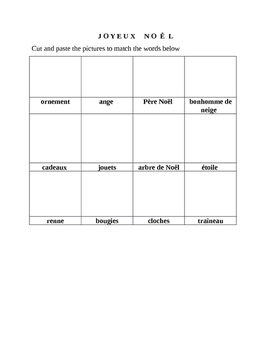 Joyeux Noel Pre-K and K Word Game and Drawings