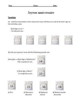 Joyeux anniversaire with age and numbers.