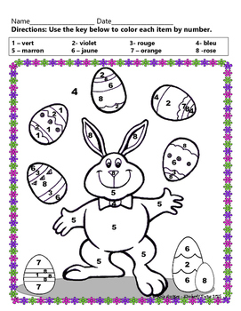 Joyeux avril! - Happy abril, five French color by number activities