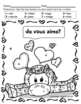 Joyeux février! - Happy February! French color by number (3 pages)