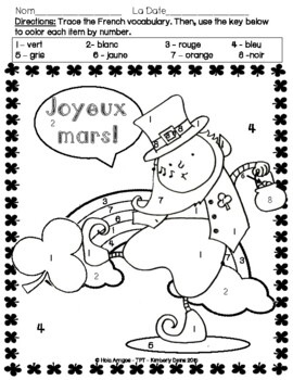Joyeux mars! - Happy March, four French color by number activities