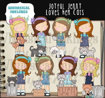 Joyful Jenny Loves Her Cats Clipart Collection