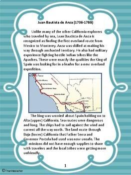 Juan Bautista de Anza: California Explorer Engaging Close Reading & Activities