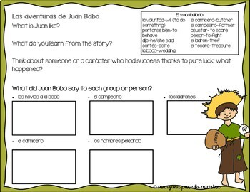 Juan Bobo Reading Comprehension Questions and Activity for comprehensible input