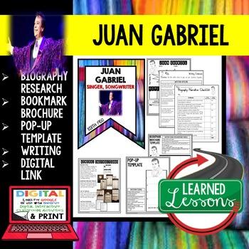 Juan Gabriel Biography Research, Bookmark Brochure, Pop-Up, Writing