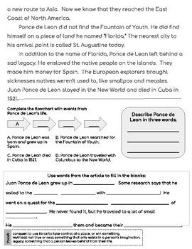 Juan Ponce de Leon Close Reading Passage and Questions