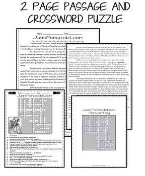 Juan Ponce de Leon: Reading Passage: Biography: Comprehension Crossword