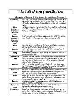 Juan Ponce de Leon Readers Theater Skit Printable!