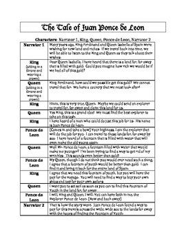 Juan Ponce de Leon Readers Theater Skit Printable!