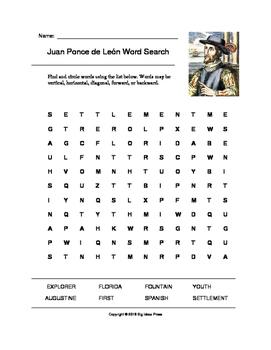 Juan Ponce de León Word Search (Grades 2-4)