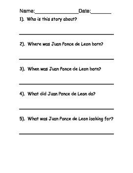 Juan Ponce de Leon reading comprehension