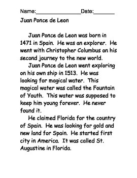 Juan Ponce de Leon reading comprehension