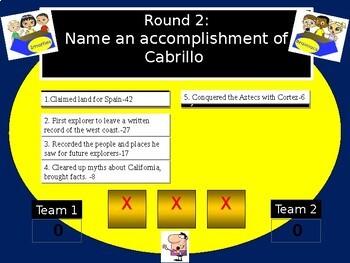 Juan Rodriquez Cabrillo Family Feud Game