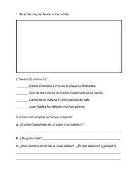 Juan Valdez: Spanish Reading Activity