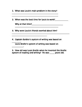 Juan Verdades and Louis Braille Comprehension Questions Houghton Mifflin