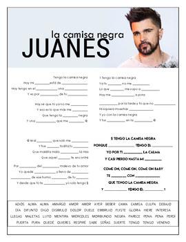 Juanes - La Camisa Negra Cloze Song Sheet! Spanish!
