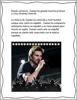 Spanish Reading Comprehension on the Biography of Famous Musician Juanes