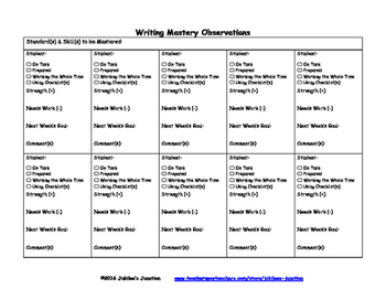 Jubilee's Junction - WRITING Mastery Conference Checklist FORM