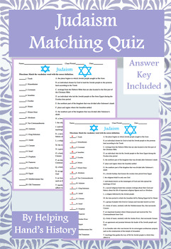 Judaism Activity Matching with Answer Key