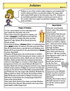 Judaism Read Worksheets & Teaching Resources | Teachers Pay ...