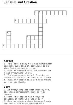 Judaism (Jewish) Crosswords for Religious Studies - Pack of 7